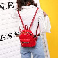韩版2018新款女包迷你双肩包简约百搭亮面小背包pu皮休闲旅行小包
