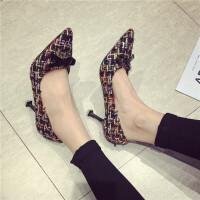 高跟鞋女尖头浅口套脚单鞋蝴蝶结优雅呢子布料细跟猫跟鞋
