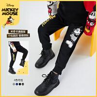 迪士尼男童长裤2021春装新款儿童宝宝洋气童装时尚卡通裤子