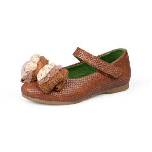 比比我女童鞋2017秋季新款皮鞋蝴蝶结可爱公主鞋软底韩版学生单鞋