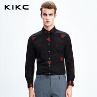 kikc衬衫男长袖2017秋季青少年黑色韩版印花修身休闲时尚潮衬衣男