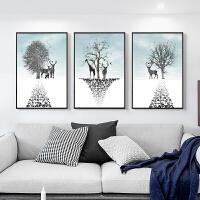 印花十字绣新款客厅简约现代三联画发财麋鹿小幅卧室动物简单线绣