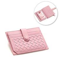 小卡包 女式小巧卡套卡片包 个性皮卡夹可爱迷你零钱包韩国 粉色 编织