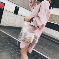 大包包女2018夏季新款大气手提果冻单肩女包潮流大容量透明子母包