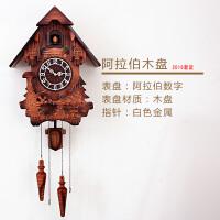 欧式布谷鸟挂钟智能音乐报时田园实木雕刻儿童创意客厅钟表咕咕钟 20英寸
