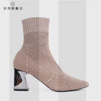 靴子女2018冬新款短靴粗跟尖头高跟裸色瘦瘦靴针织靴毛线弹力袜靴SN2453