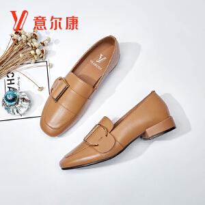 【满减到手价:179】意尔康2018年新品女鞋时尚通勤鞋魅力浅口女粗跟鞋浅口方头女单鞋
