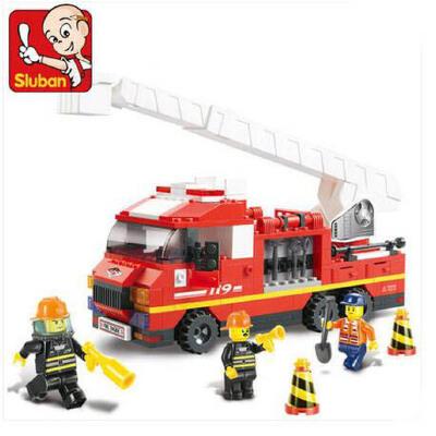 快乐小鲁班 拼装积木消防仿真城市拼插塑料玩具云梯车模型
