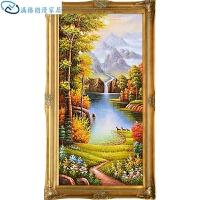 欧式古典油画手绘玄关装饰画竖版过道走廊对景挂画客厅壁画山水风景画