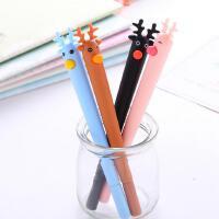 韩国文具 圣诞 麋鹿 软胶 中性笔 0.5mm 黑水笔 学生文具 签字笔 水性笔