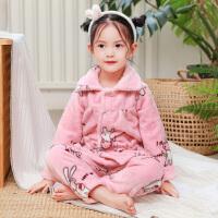 秋冬季女童儿童法兰绒睡衣长袖小孩1-3周岁两5加厚珊瑚绒宝宝套装