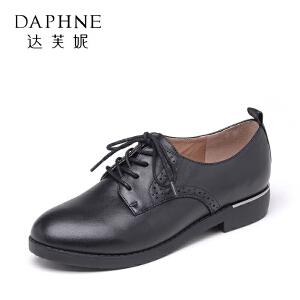 Daphne/达芙妮 真皮牛羊皮系带粗跟厚底休闲女单鞋