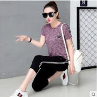 户外运动休闲套装女 圆领短袖七分裤运动服 新款时尚两件套韩版潮