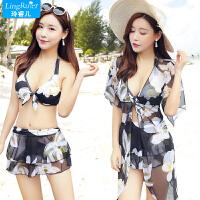 韩国泳衣女三件套比基尼分体裙式保守遮肚小胸聚拢性感泡温泉游泳