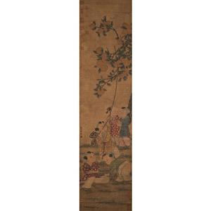 F1902  苏汉臣 《婴戏图》(原装旧裱、满斑、并有张伯驹等多位名家收藏印)