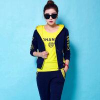 韩版卫衣时尚修身运动服套装女大码休闲套装女秋三件套