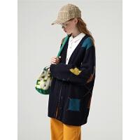 初语毛衣外套女开衫春季新款宽松韩版彩色落肩洋气针织衫女