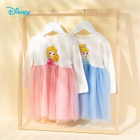 【2件3折到手价:67.5】迪士尼Disney童装女童网纱连衣裙高腰拼接公主风裙子春季新品甜美纱裙