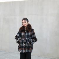 复古韩版时尚格子可拆卸毛领单排扣宽松加厚毛毛内里气质短外套女