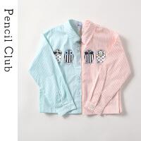 【3件2折价:51.8】铅笔俱乐部童装2019春夏新款女童衬衫中大童翻领上衣女童薄衬衫