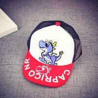 2018年新款春夏新款儿童网帽宝宝防晒遮阳帽子男女童棒球帽鸭舌帽童帽 恐龙款 白红色 帽围可调节