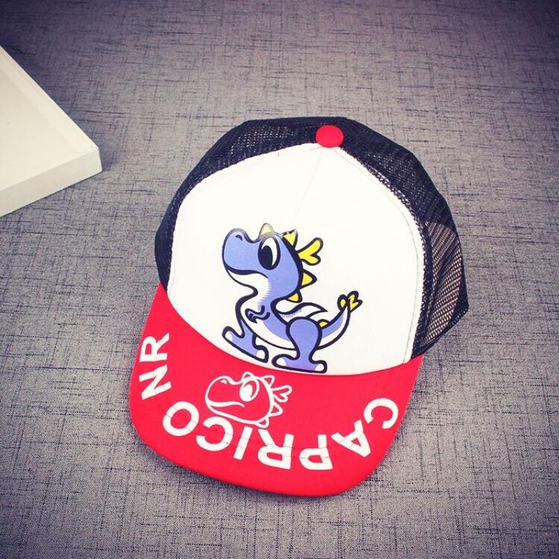 2018年新款春夏新款儿童网帽宝宝防晒遮阳帽子男女童棒球帽鸭舌帽童帽 恐龙款 白红色 帽围可调节 发货周期:一般在付款后2-90天左右发货,具体发货时间请以与客服协商的时间为准