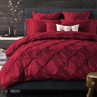 欧式婚庆四件套大红色结婚床上用品多件套床单被套1.8米床