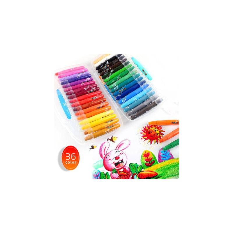 马培德丝滑炫彩棒12色24色36色可水洗儿童旋转油画棒幼儿园绘图安全彩色蜡笔美术画画绘画涂鸦彩绘笔彩笔 安全可水洗 旋转式设计