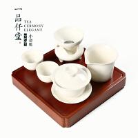 盖碗德化白瓷三才碗茶杯陶瓷功夫茶具茶碗杯子大号家用泡茶器套装 +方形竹制茶盘