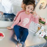 女童毛衣套头春秋儿童中大童韩版针织衫小女孩卡通上衣