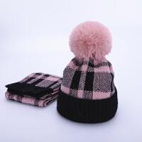 宝宝帽子围巾两件套装加绒保暖儿童毛线帽秋冬季潮男童女童1-3岁2 粉色 格星贝套帽 均码