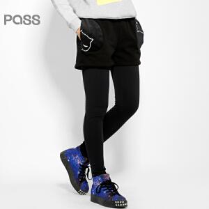 PASS原创潮牌冬装 拼接口袋显瘦假两件裙裤黑色加厚保暖打底裤女6542021023