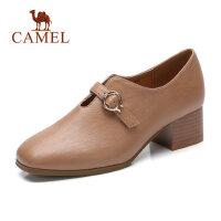 camel 骆驼玛丽珍小单鞋女秋季新款低跟方头一脚蹬妈妈鞋一字扣百搭