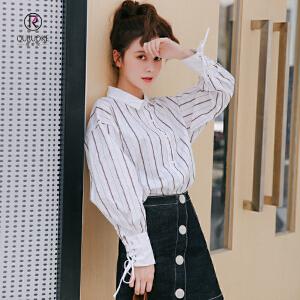 欧若珂  2018秋季新款女装衬衫女长袖宽松韩版显瘦百搭时尚衬衣单排扣上衣