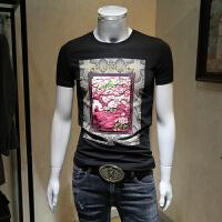 男士短袖t恤男2018夏季新款青年韩版个性印花半截袖修身体恤 黑色 M