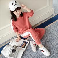 女童春装运动套装2018新款韩版儿童春秋卫衣洋气休闲两件套潮衣服4632 红色