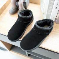 冬季低帮短筒雪地靴平底女短靴韩版浅口保暖防滑学生棉鞋靴子