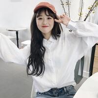 白衬衫女新款韩版学院风百搭宽松显瘦长袖打底衫衬衣学生2018春款