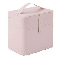 双层大容量多功能化妆箱 简约大号化妆品收纳包化妆手提收纳盒 裸粉 预售10天后发货