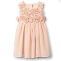 童装女童夏季新款连衣裙子粉色花朵背心裙雪纺公主裙+内裤