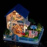 儿童DIY小屋玩具手工拼装建筑模型玩具积木生日礼物玩具 +音乐+防尘罩