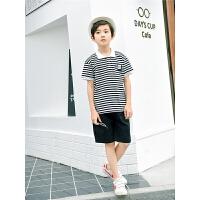 童装男童夏装季短袖T恤套装中大童儿童运动卫衣两