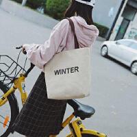 【支持礼品卡支付】夏季新款韩版女单肩手提包休闲学生书包文艺字母布包环保购物袋 MW-8000