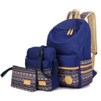 学院帆布双肩包女背包女双肩女包书包中学生时尚背包 三件套