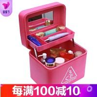 大容量韩版化妆包可爱小号方品中袋随身便携手提收纳盒简约化妆箱