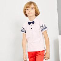 【1件2.5折到手价:42.3】米喜迪mecity童装男童polo印花短袖t恤夏新款
