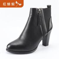 【领�幌碌チ⒓�120】金粉世家 红蜻蜓旗下 冬季新款女短靴欧美时尚短靴真皮靴