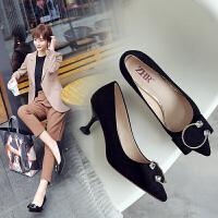 ZHR2019秋季欧美风猫跟鞋尖头高跟鞋小清新细跟女鞋浅口单鞋