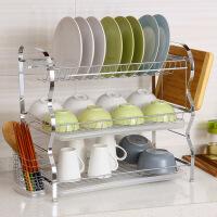 【领券立减50】ORZ 不锈钢R型厨房双层碗碟架沥水架 晾碗架放碗架 碗盘筷子收纳架