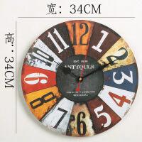 复古创意挂钟客厅墙上电子钟卧室时钟钟表餐厅钟墙壁挂摆设装饰品 13英寸